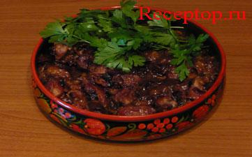поджарка из свинины со свежими сливами