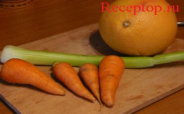 на фото морковь, сельдерей и грейпфрут для салата