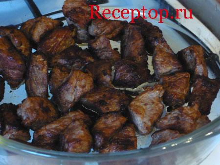 на фото мясо порционными кусками в сотейнике