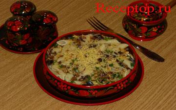 на фото паста Пенне  с баклажаном и сыром