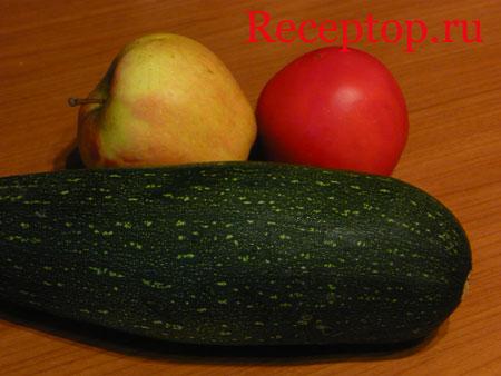 на фото яблоко, кабачок и помидор
