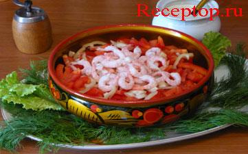салат помидоры с креветками в салатнице хохлома