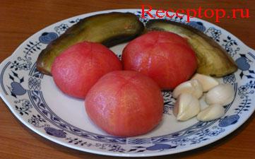 на фото баклажаны и помидоры очищаем от кожицы